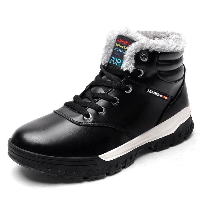 Bottes hiver hommes chauds PU bottes en coton