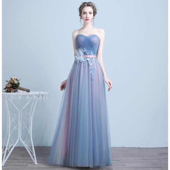 Élégante longue robe de bal bleu robe de soirée contraste couleur perlée  ceinture robe de soirée de danse 58455c58719a