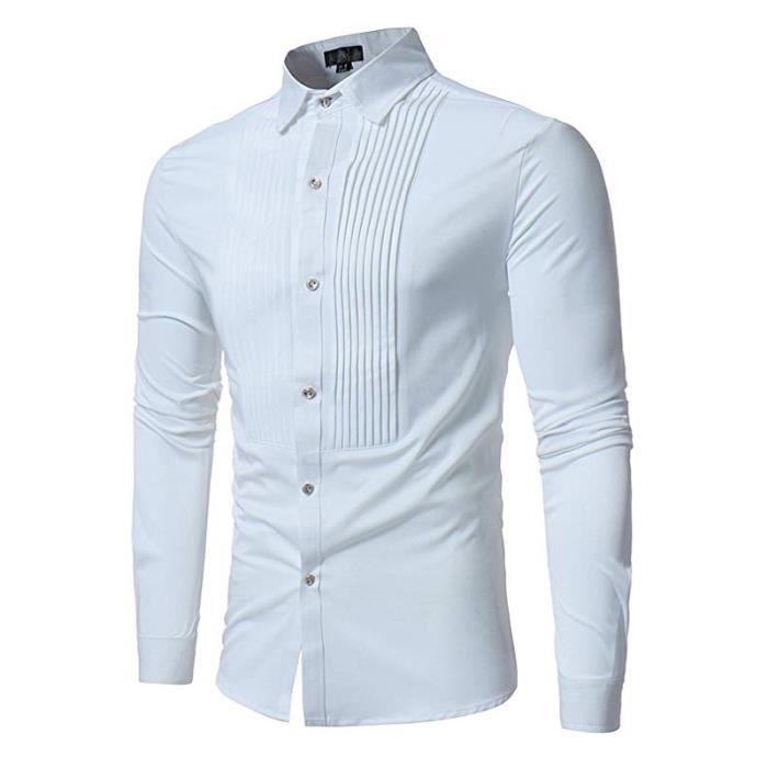 Chemise habillées de smoking à manches longues pour hommes Blanc ... 53e549f4379