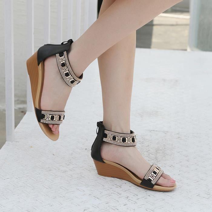 Bohême Compensées Mode Moyen 42 Noir Sandales Talons Strass Femmes Chaussures À qIIpwaP