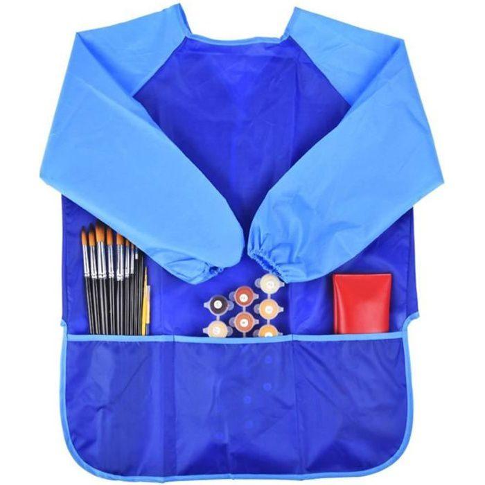 enfants sarrau blouse tablier tanche manches longues pour peinture art bleu achat vente. Black Bedroom Furniture Sets. Home Design Ideas
