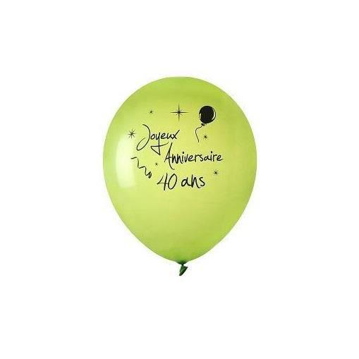 Ballon Joyeux Anniversaire Vert 40ans X8 Ref 4841 Achat Vente