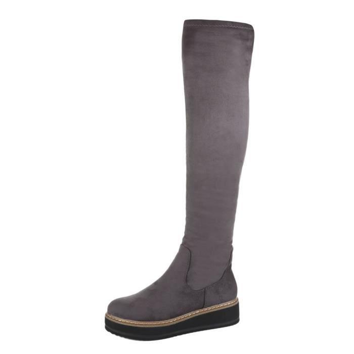 femme bottes overknees chaussure mode gris axNCHXE