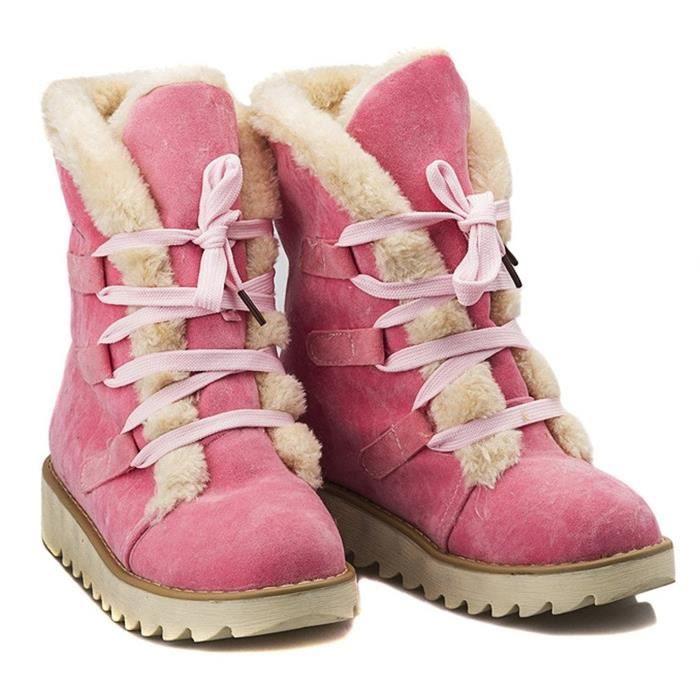 Minetom Femmes Automne Et Hiver Plat Bottines Chaud Fourrure Bottes De Neige Lace-up Chaussures gKFT0KG