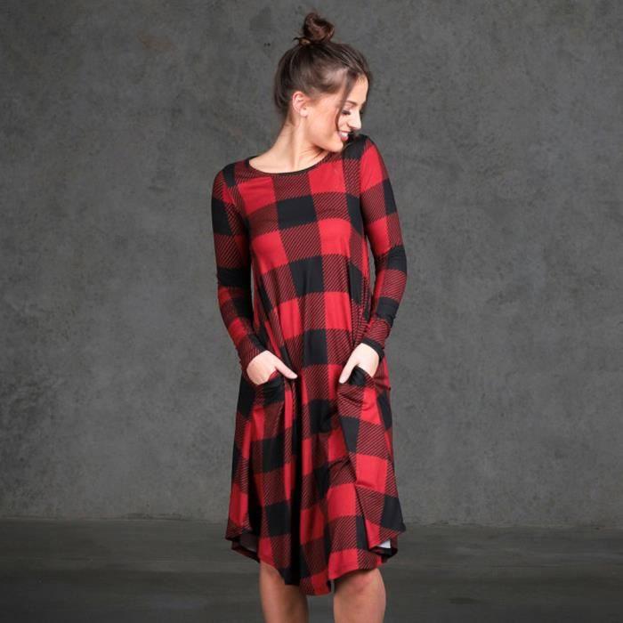 Napoulen®Mode femme plaid manches longues mini robe de soirée avec poches Rouge XXP71225362RD