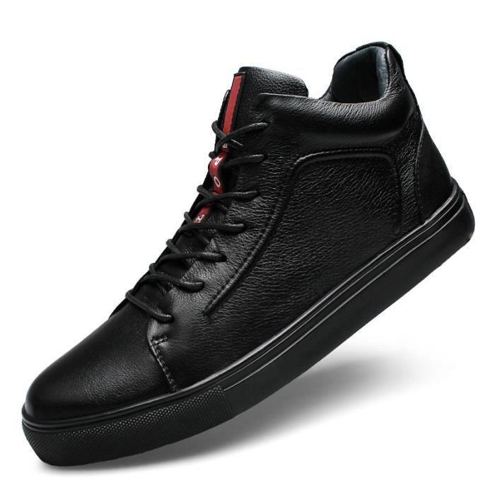JOZSI Chaussure Homme Cuir Automne et Hiver Classique Chaussures de ville DTG-XZ184Noir