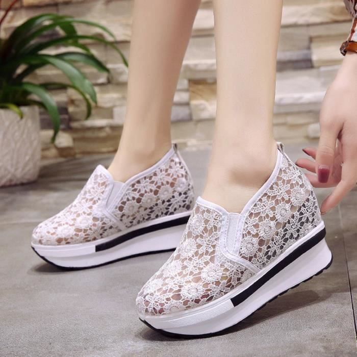 Shoes Mesh Breathable xz 3280 Slope Shoe Femmes Blanc Thick Casual Increased Platform Net ZXYI6qY1