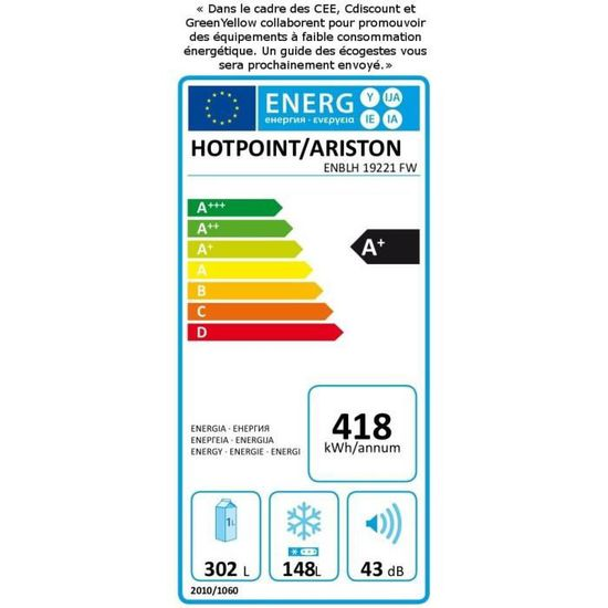 6affdb0bb9211c HOTPOINT ENBLH19221FW - Réfrigérateur congélateur bas - 450 L (302 + 148 L)  - Froid Total No Frost - A+ - L 70 x H 195 cm - Inox - Achat   Vente ...