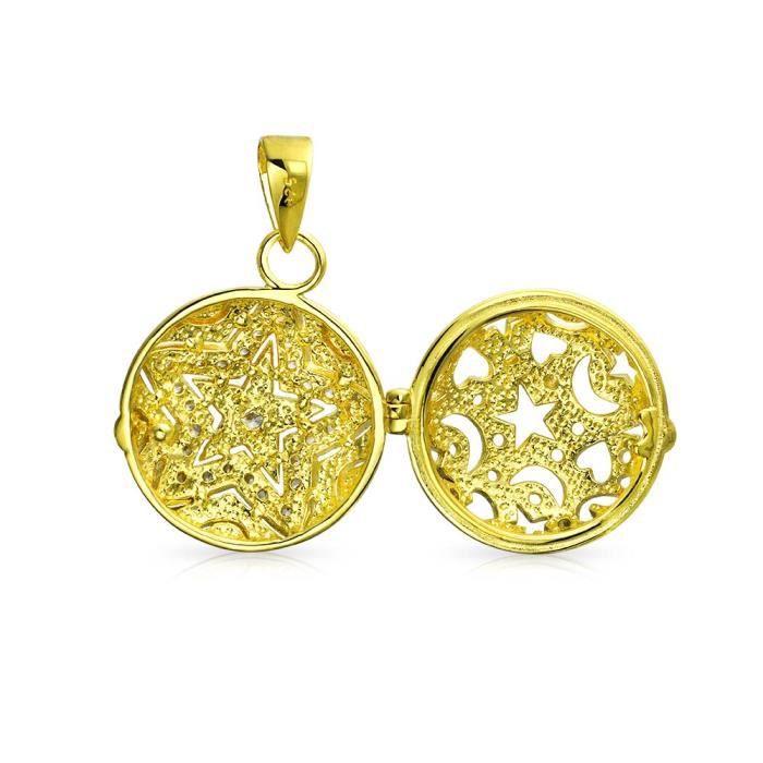 Bling Jewelry plaqué or CZ Patriotique Star style Vintage Pendentif Pendentif argent 925
