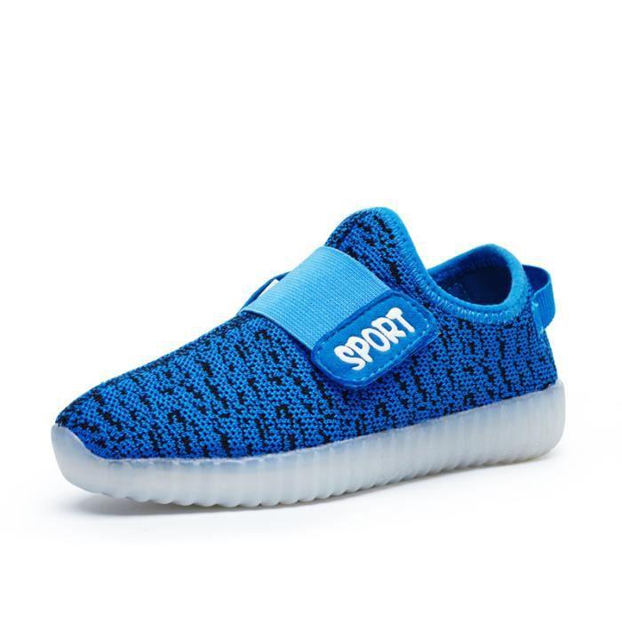 32'' Chaussures LED avec Lumineux 7 Couleurs du changement pour Enfant Sport - Bleu