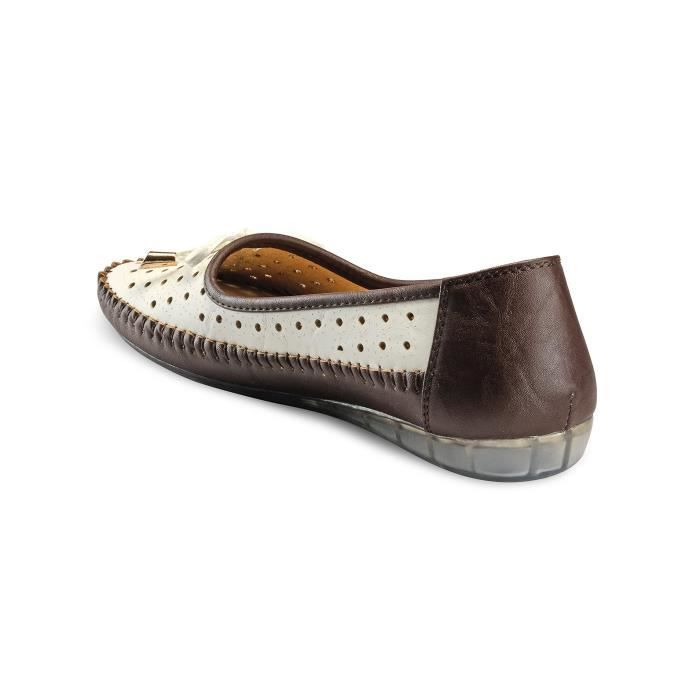White & Brown Bellies Mulets QBO90 Taille-42