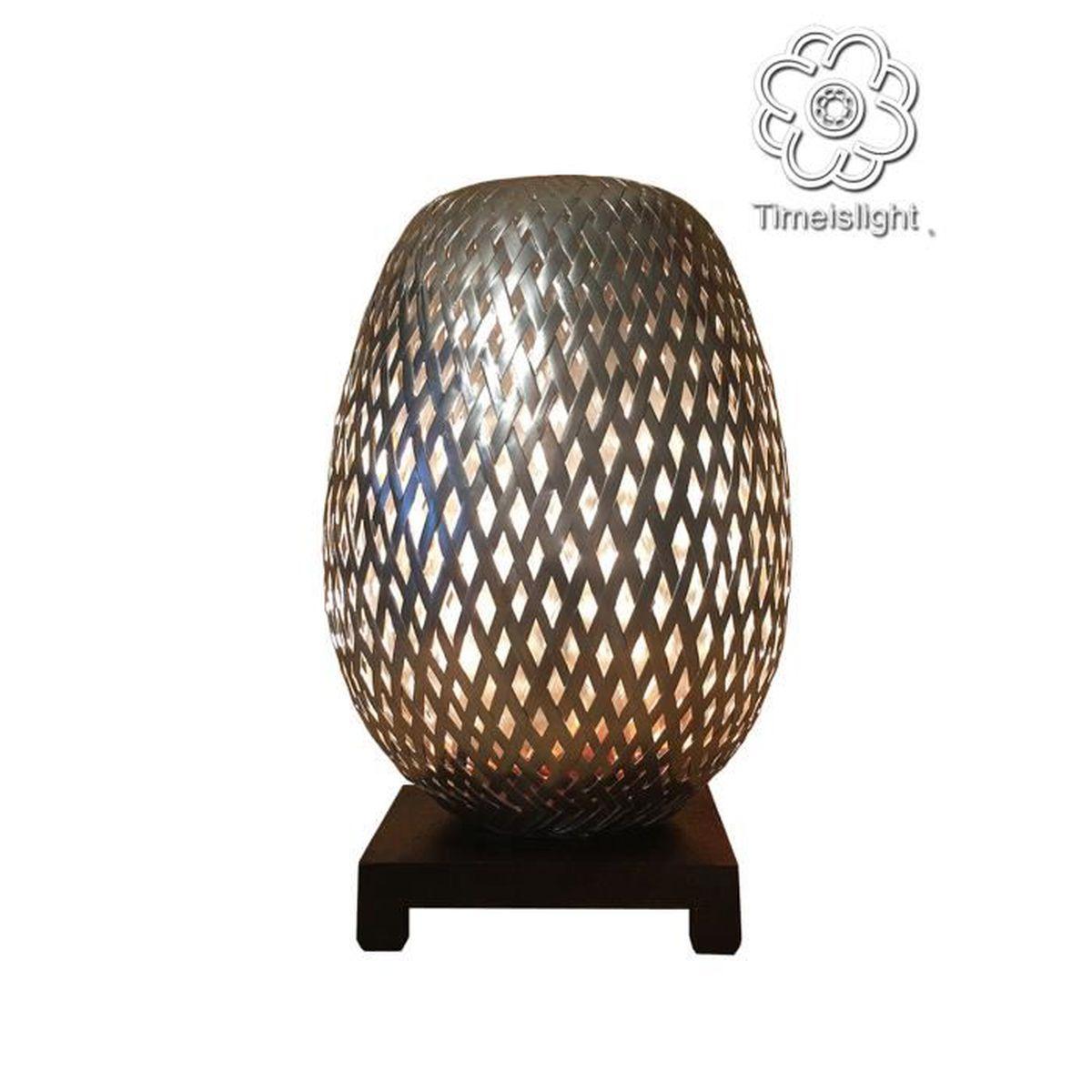 Lampe De Chevet Bambou Tresse En Double Peau Chromee Avec