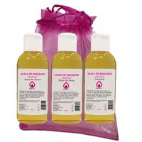 Coffret Modelage Sensuel- Mix de 3 flacons d'Huiles de massage assorties Parfumées Fleur de Lotus, Caramel et Amande Douce, 100% vég