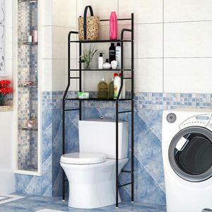 COLONNE - ARMOIRE WC LUXS Meuble dessus WC en Inox Noir Etagère de sall