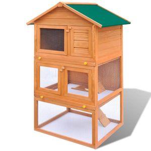 Cage clapier ext rieur en bois pour lapins 3 etages for Clapier lapin exterieur