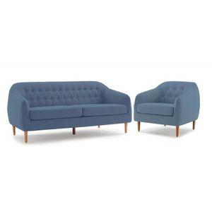 FAUTEUIL Ensemble Canapé 3 places et fauteuil tissu bleu co