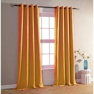 RIDEAU Lot de 2 rideaux occultant et obscurcissant orange