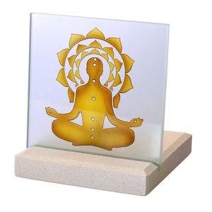 BOUGEOIR - CHANDELIER Bougeoir Photophore Chakkra Bouddha en pierre et v