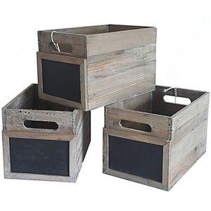 BOITE DE RANGEMENT Lot de 3 Caisses Casiers à Bouteilles Cagettes à L