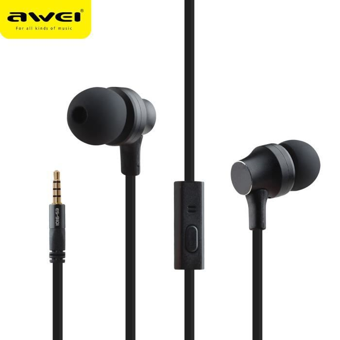 Awei Es-910i Metal 3.5mm Jack In-ear Noise Isolating Mic Super Bass Earphone _poi54586