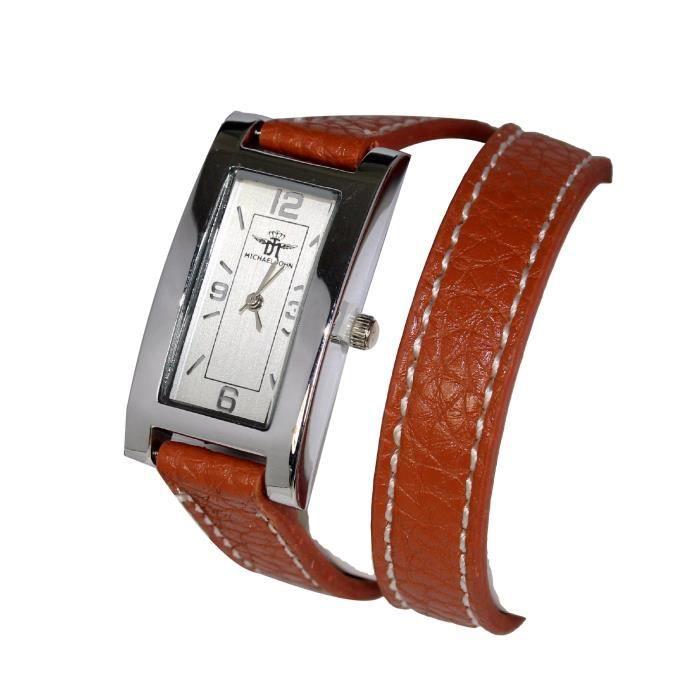 montre bracelet femme double tour cuir marron michael john tendance achat vente montre. Black Bedroom Furniture Sets. Home Design Ideas