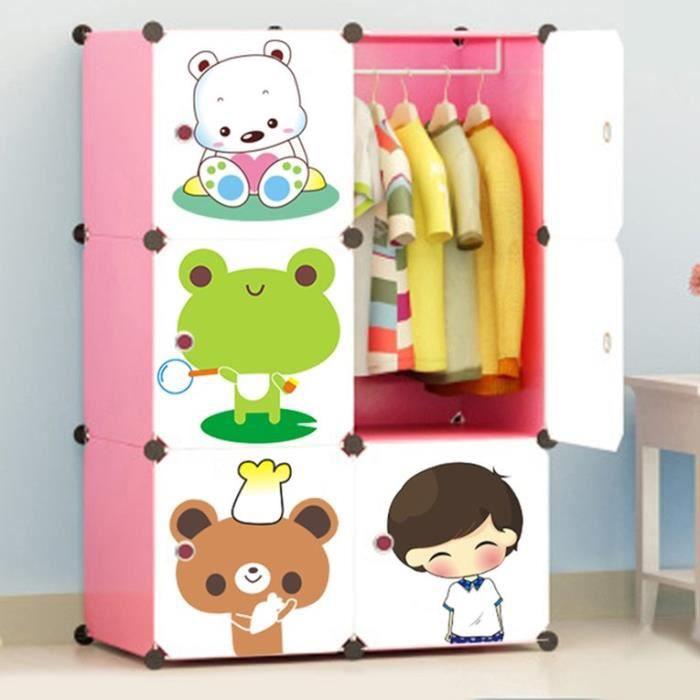 Armoire Dessin dessin animé rose - armoires etagères plastiques enfants 6 cubes