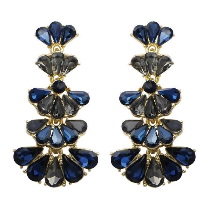 Womens Fashion Jewelry Vintage Style Fan Crystal Drop Earrings NH06K