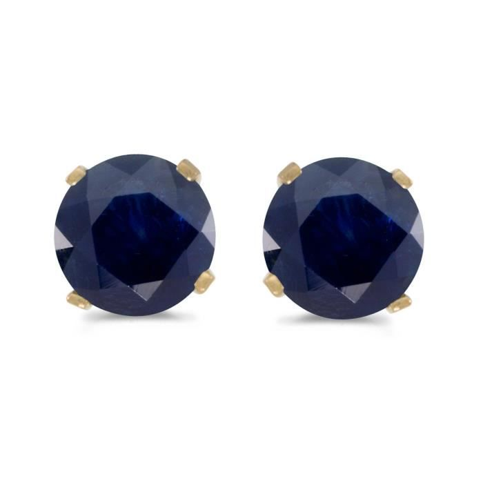 Womens 1 Carat Total Weight Natural Round Sapphire Stud Earrings Set In 14k Yellow Gold R2C4K