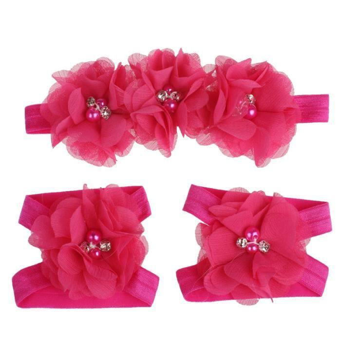 Napoulen®Pied fleurs coloré pieds nus sandales et bandeau ensemble pour bébé enfant fille-XPP10202118 vAI2I