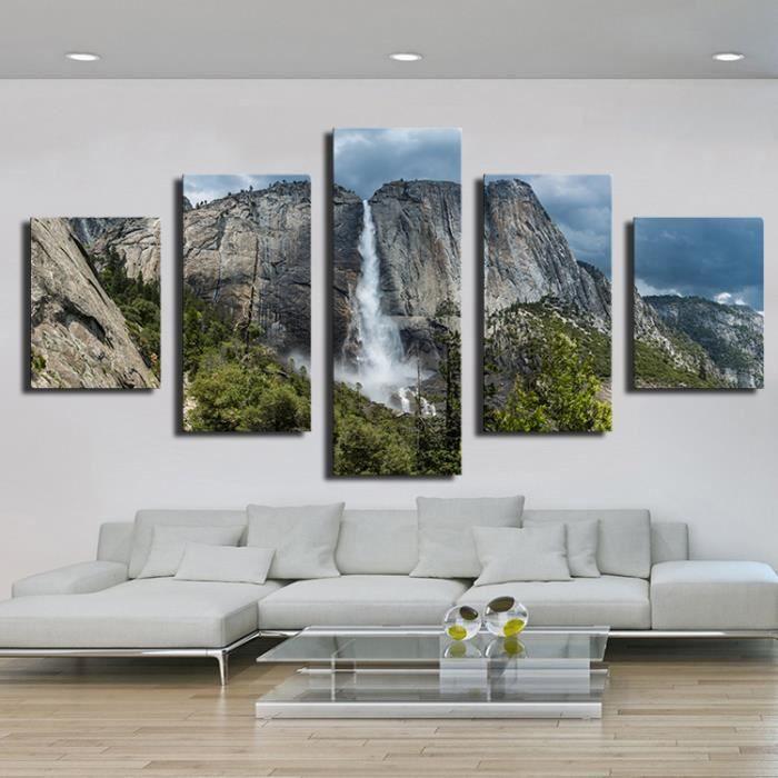 5 pi ces la chute d 39 eau jaune peintures modernes pour mur. Black Bedroom Furniture Sets. Home Design Ideas