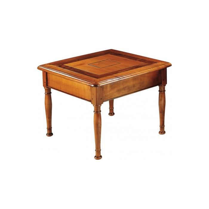 table basse carre merisier massif pieds tourns 60 - Table Merisier Massif