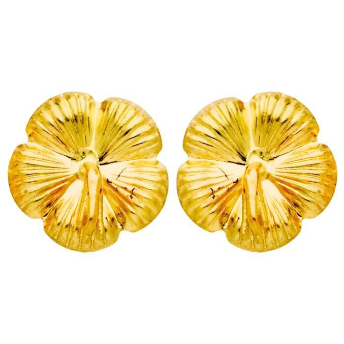 DIAMANTLY Boucles doreilles hibiscus strie or 375-1000°