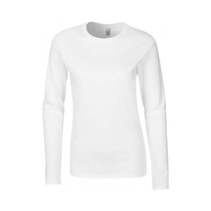 léger 150gM2 140 LONGUES Femme T GI64400L MANCHES SHIRT Blanc qxP4SX0