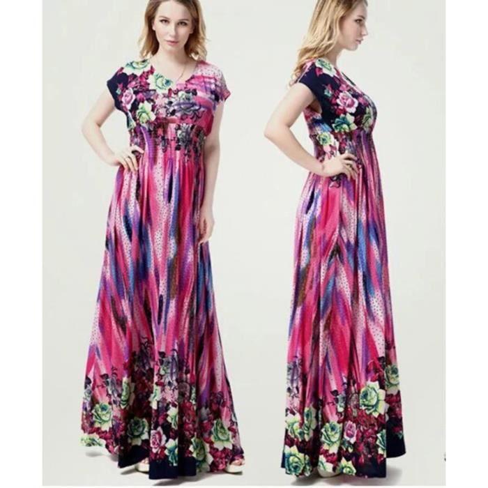 348a6e12542 Nouvelle Arrivee Imprimé Floral Robe Longue Femme Manche Courte Grande  Taille Soie Ice Robe de Plage Bohême Robe d…