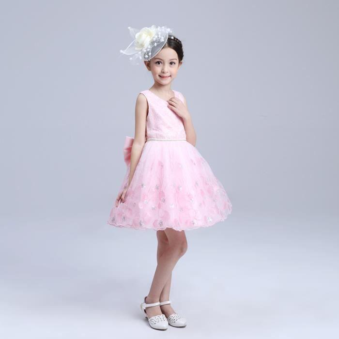 5829dad38f2c8 Enfant Fille Robe de Cérémonie Robe de Mariage Avec Nœud Fleurs Pour Ange  de 2 à 10 Ans