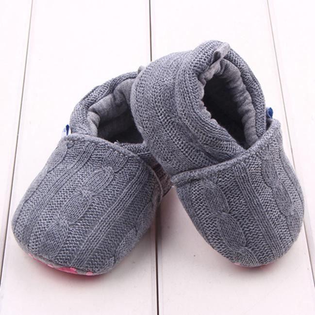 Chaussures de bébé de mode Sneaker anti-Slip Soft semelle tout-petits gris
