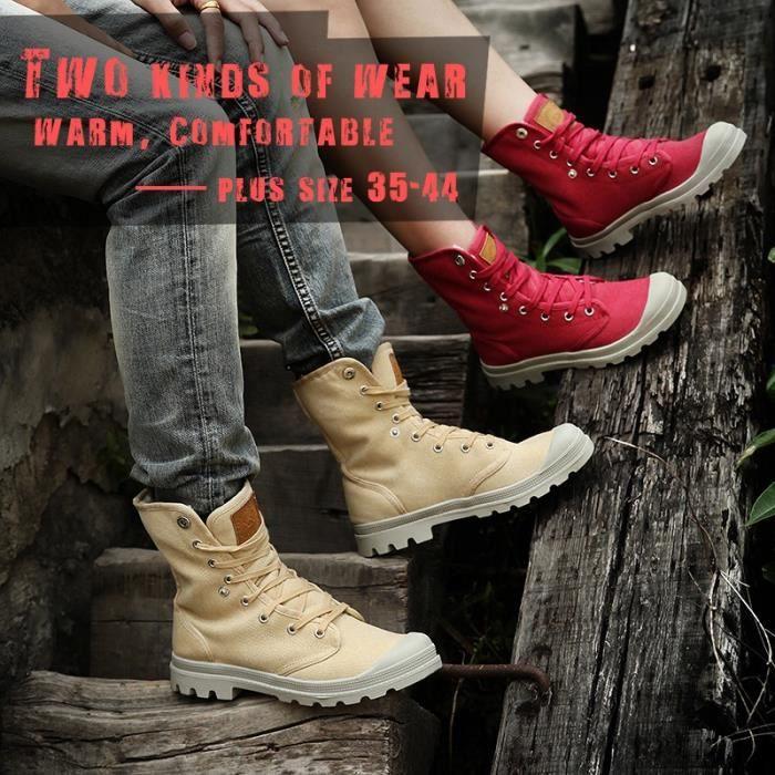 Bottes pour Femmenoir 4.5 Automne et d'hiver plus Cashmere toile Couple Chaussures de marée_817