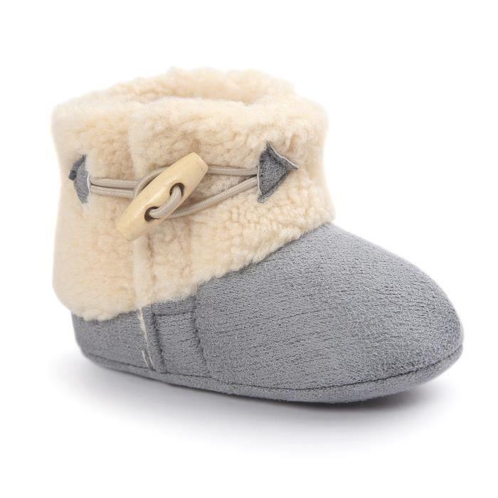 Gris Souple Bottes de neige Bébé d'hiver Chaussure de Bébé Fille et Garçon premier pas en coton 0-6-12 mois 12-16