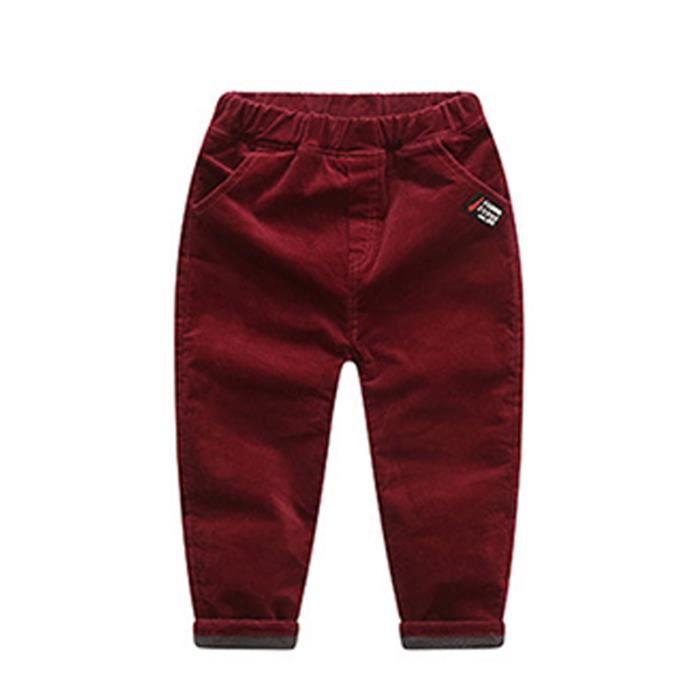 4ca9b69e79a27 Pantalon Enfant Garçon en velours côtelé Automne Hiver Rouge Rouge ...