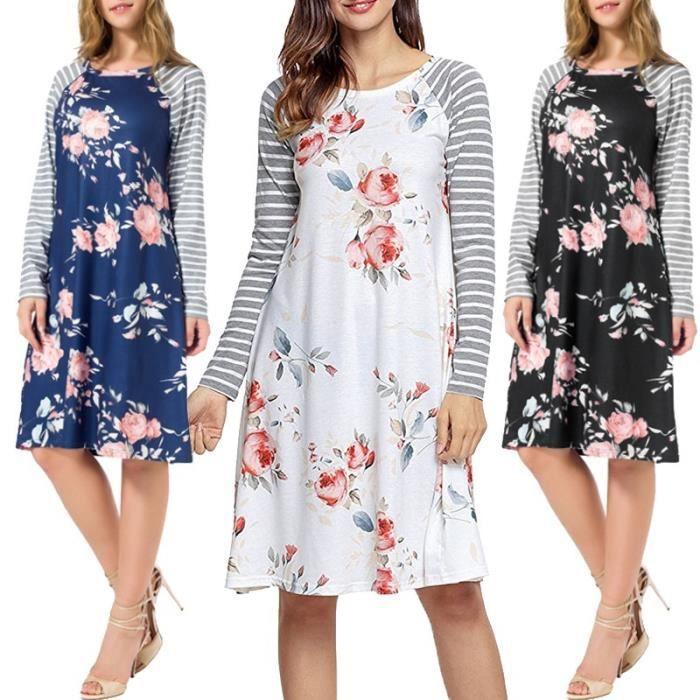 Boho style imprimé floral Lady Stripe manches longues en coton Pull Robe Plus Size 3XL-548