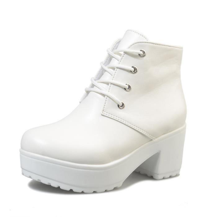 Botte Talons Haut qualité Nouvelle Chaussure Mode Confortable Classique Bottine Beau Simple Rétro Couleur unie 35-41