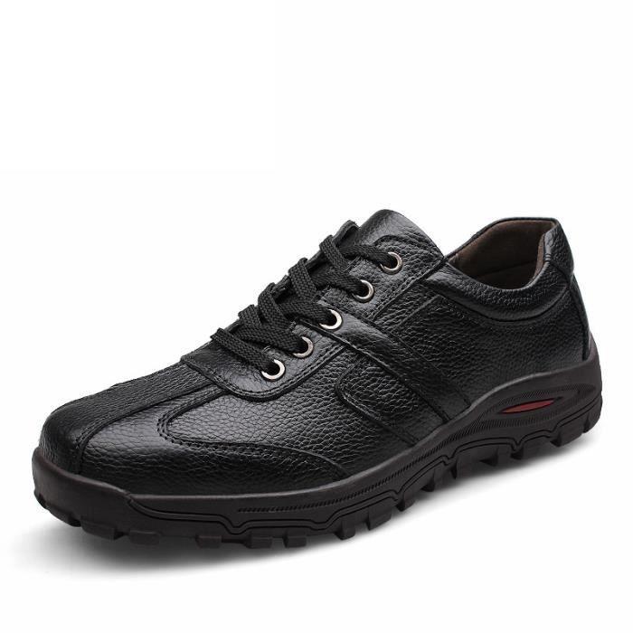 Chaussures plates en cuir de mode pour hommes cuir souple baskets hommes Taille 38-48 2aGIA