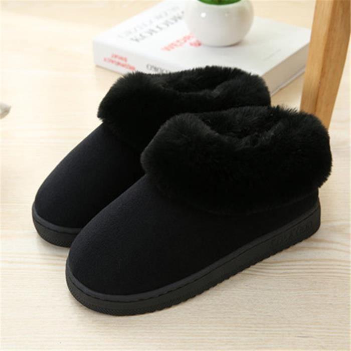 chausson Peluche courte homme Chaud Coton chaussons hommes pour l'hiver pantoufles peluche chaussures hiver maison Plus Taille Ed32IAIJ