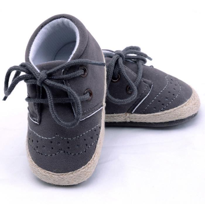 BOTTE Nouveau-né Infantile Bébé Filles Garçons Crib Chaussures Doux Semelle Anti-slip Sneakers Chaussures@Gris foncéHM FEKGgBI