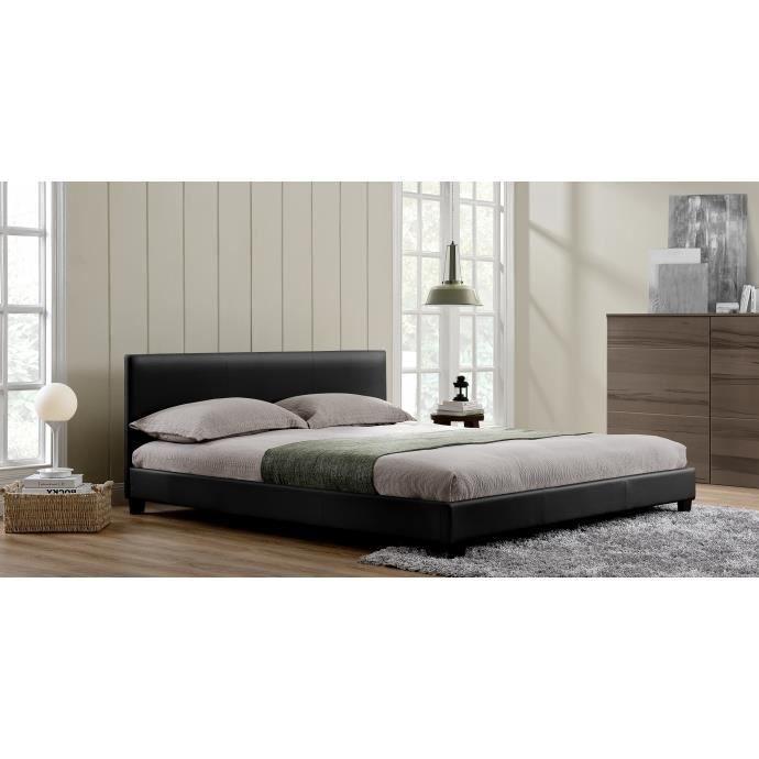 LAngelo Cadre De Lit En Simili Cuir Noir Achat Vente - Cadre de lit simili cuir