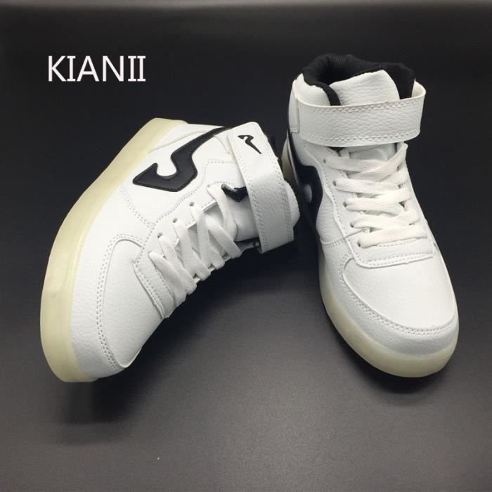 KIANII® Blanc Chaussure Led Noir USB Charge Basket Led Homme Femme Multicolore LED Lumière Clignotants Chaussure Lumineuse Pas Cher