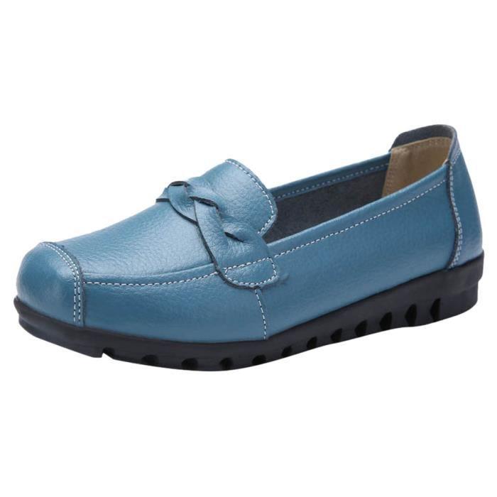 Slip Toe Pois Cuir Femmes Chaussures Bateau Loisirs Rondes on Plates Simples Veberge 2686 q1IwUnETn
