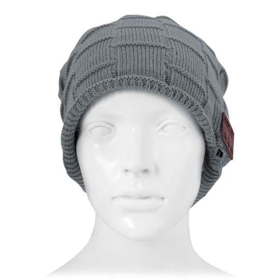 b55587ed4a5d Bonnet Connecté Carré tricoté texturé casque Bluetooth chaud d hiver avec  micro garçon et fille adultes gris foncé - casque - écouteurs, avis et prix  pas ...