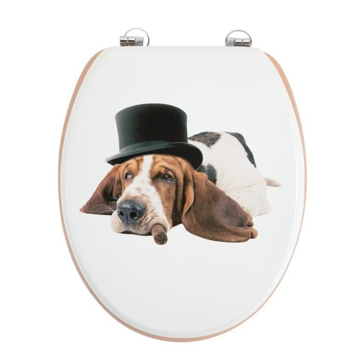 Abattant WC avec photo chien humoristique, attaches en zinc ...