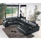 Grand canapé d\'angle panoramique en cuir noir KING - Achat / Vente ...